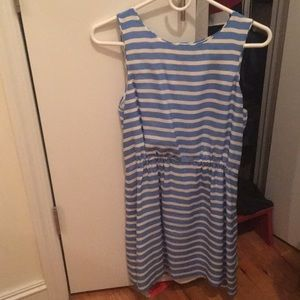 White and blue striped J. Crew shift dress